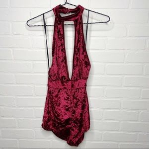 Forever 21 Crushed Red Velvet halter neck Romper S